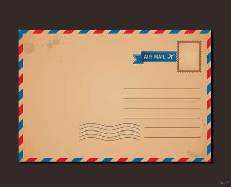 postage stamps: Vintage postcard and postage stamps. Design envelope pattern and letters Illustration