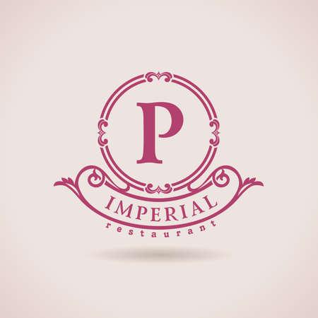 Luxe logo restaurant. Kalligrafische patroon elegante inrichting elementen. Vintage vector ornament P Stock Illustratie