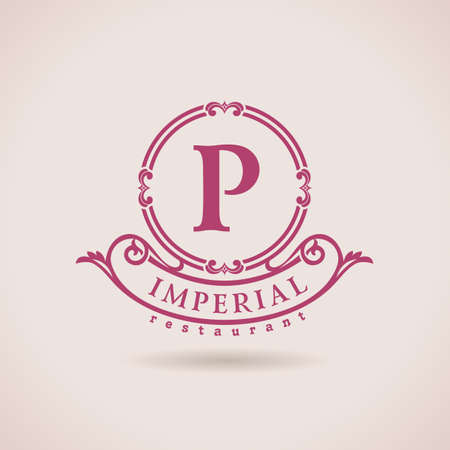 Luxury logo restaurant. Calligraphic pattern elegant decor elements. Vintage vector ornament P