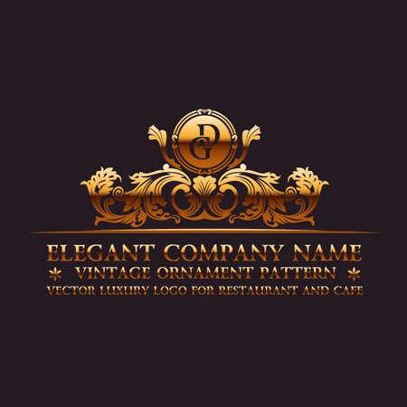 Luxury logo. Calligraphic pattern elegant decor elements. Vintage vector ornament gold