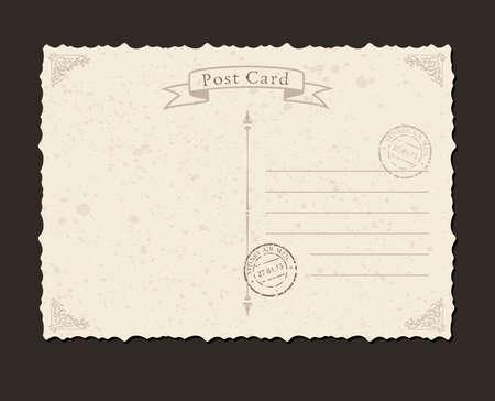 グランジはがきと切手。デザイン封筒と手紙  イラスト・ベクター素材