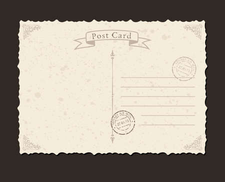 vintage postcard: Grunge postcard and postage stamp. Design envelopes and letter