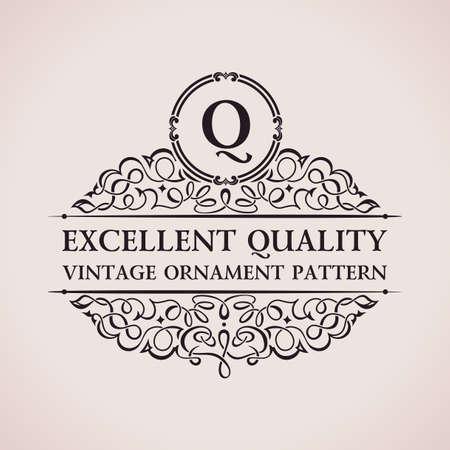 Luxury logo. Calligraphic pattern elegant decor elements. Vintage vector ornament Q Illustration