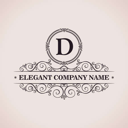 Luxury logo. Calligraphic pattern elegant decor elements. Vintage vector ornament D  イラスト・ベクター素材
