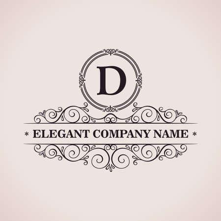 Luxury logo. Calligraphic pattern elegant decor elements. Vintage vector ornament D Vettoriali