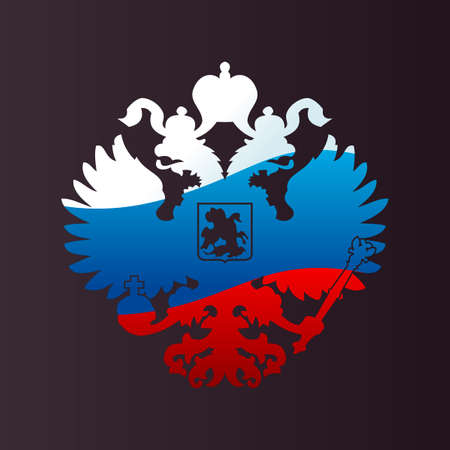 Russian coat arms double-headed eagle emblem. Symbol of empire Russia flag Illustration