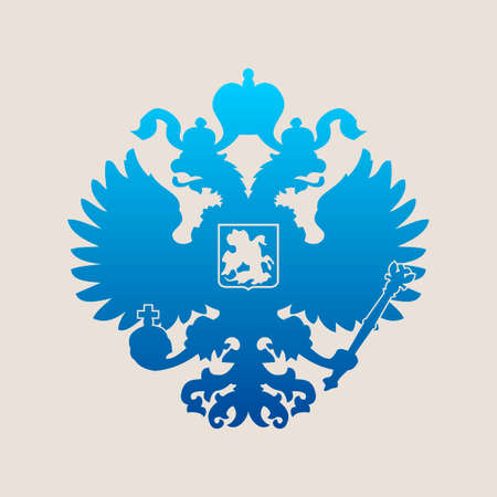 hawks: Russian blue coat of arms double-headed eagle emblem. Symbol of empire Russia