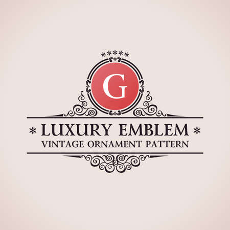 Luxury logo. Calligraphic pattern elegant decor elements. Vintage vector ornament G