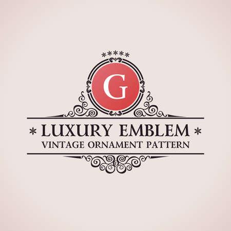 Luksusowe logo. Kaligraficzne elementy wystroju elegancki wzór. Vintage ornament wektor G Ilustracja