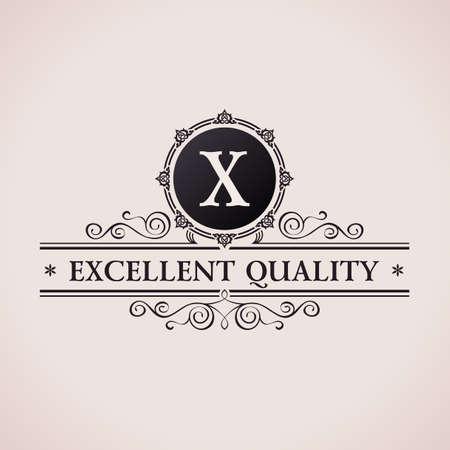 Luxury logo. Calligraphic pattern elegant decor elements. Vintage vector ornament X Illustration