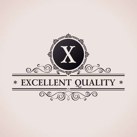Luxury logo. Calligraphic pattern elegant decor elements. Vintage vector ornament X Illustration