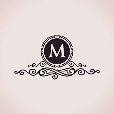 Luxury logo. Calligraphic pattern elegant decor elements. Vintage vector ornament M