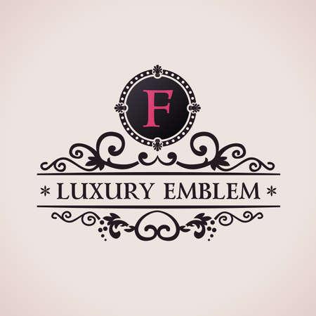 Luxury logo. Calligraphic pattern elegant decor elements. Vintage vector ornament F Illustration