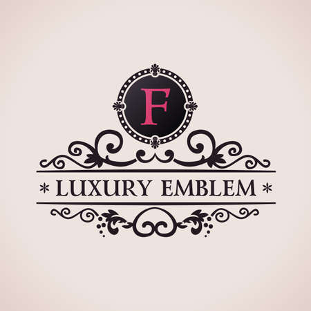 Luxury logo. Calligraphic pattern elegant decor elements. Vintage vector ornament F Vettoriali