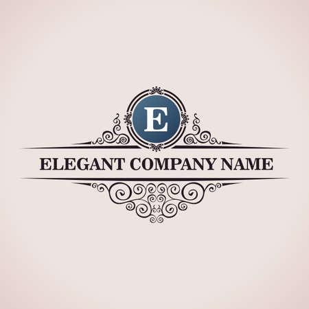 Logo luxo. Elementos caligráficos do padrão decoração elegante. Vintage vector ornamento E