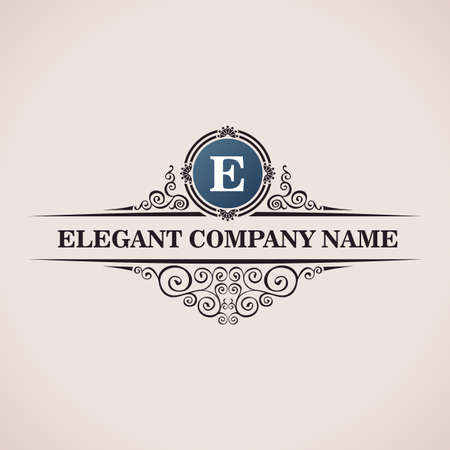Luxury logo. Calligraphic pattern elegant decor elements. Vintage vector ornament E Çizim