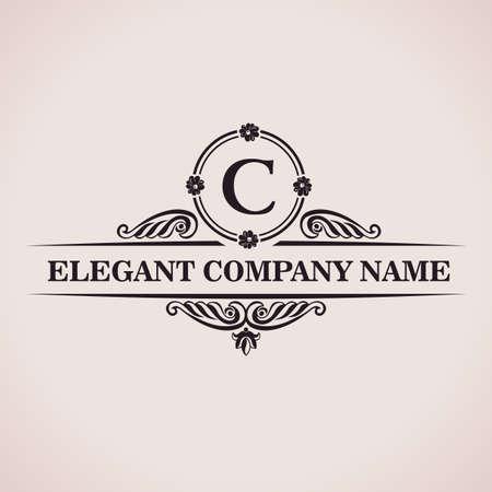 Luxury logo. Calligraphic pattern elegant decor elements. Vintage vector ornament C Vettoriali