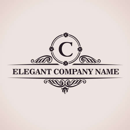 Luxury logo. Calligraphic pattern elegant decor elements. Vintage vector ornament C Stock Illustratie