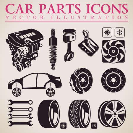 Car parts set. Vector repair car service icons set Vettoriali
