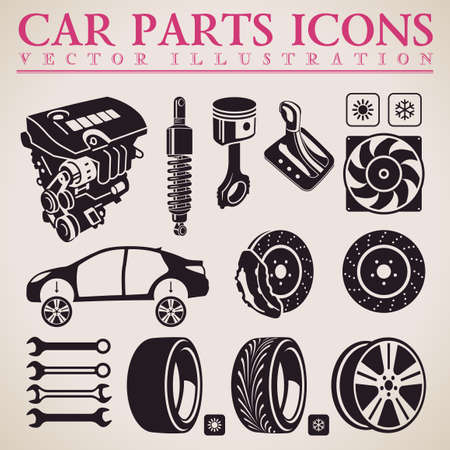 Car parts set. Vector repair car service icons set Illustration
