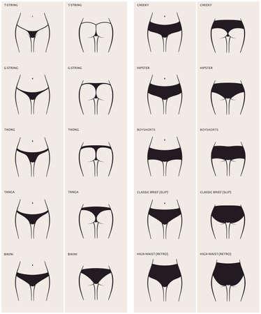 naked woman: 10 типов женские трусики. Векторный набор нижнего белья. Силуэт задницу впереди и сзади. Строка, стринги, танга, бикини, нахальный, заниженной талией, boyshorts, классический краткий, скольжение, высокая талия, ретро