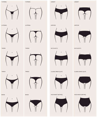mujer desnuda: 10 tipos de mujer bragas. Vector conjunto de ropa interior. Culo Silueta delante y por detrás. string, tanga, tanga, bikini, fresco, inconformista, boyshorts, breve clásico, slip, cintura alta, retro Vectores