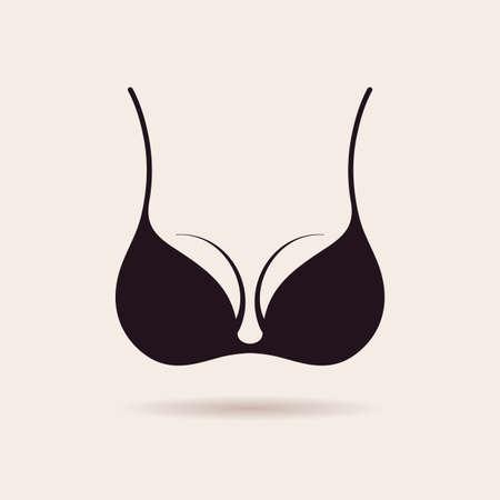 breasts erotic: Bra icon logo. Vector lingerie illustration. Vintage label design symbol Illustration