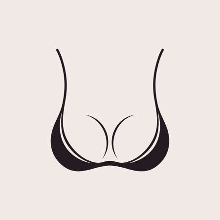 young breast: Bra icon sexy logo. Simple emblem slim figure, fitness beautiful breasts vector illustration. Vintage bikini sale label design Illustration
