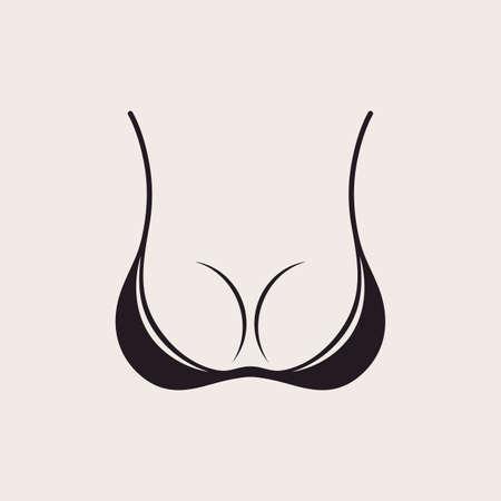 Bra icon sexy logo. Simple emblem slim figure, fitness beautiful breasts vector illustration. Vintage bikini sale label design Vettoriali
