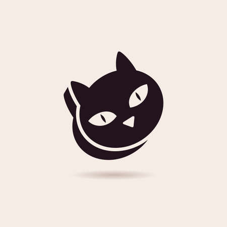 black cat silhouette: Vector symbol cat food. Stylized illustration silhouette icon