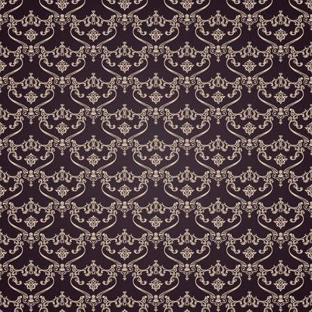 Vector seamless vintage background. Calligraphic pattern. Royal elegant ornament dark wallpaper