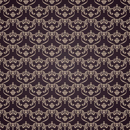 40022237: Vector seamless vintage background. Calligraphic pattern. Royal elegant ornament dark wallpaper