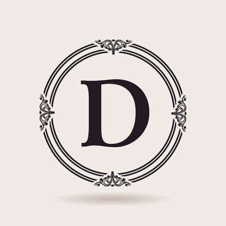 ベクトルのフレームはデザイン テンプレートです。ヴィンテージのラベルおよびロゴのバッジ。アルファベット D
