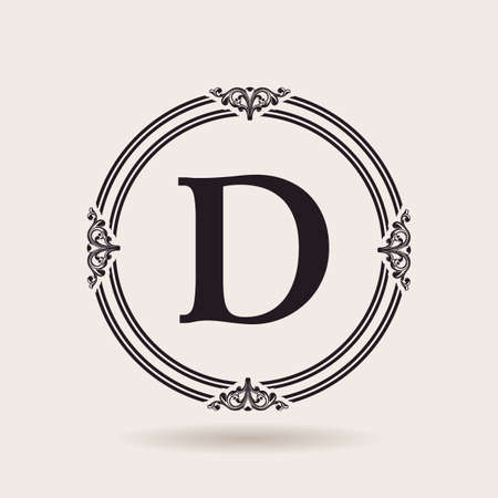 벡터 디자인 템플릿 프레임. 빈티지 라벨과 로고 배지. 알파벳 문자 D 일러스트