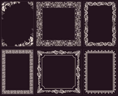 Vector calligraphic frames set. Baroque ornament and vintage black border  イラスト・ベクター素材