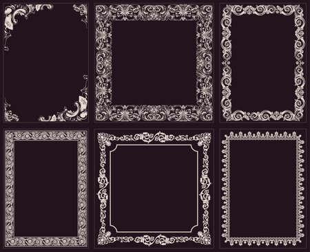 bordes decorativos: Vector marcos caligráficos fijados. Ornamento barroco y el borde negro de la vendimia