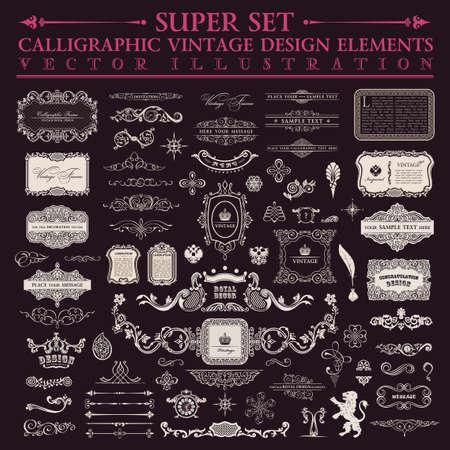 Elementy projektu kaligraficzne. Wektor zestaw baroku. Zabytkowe elementy projektu i dekoracji strony. Ramki Royal Collection granica ozdoba