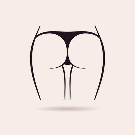 Icône de la culotte sexy. Cul de femmes de vecteur dans un string