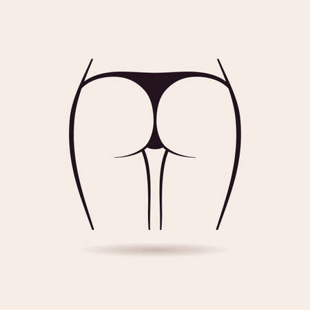 nude female buttocks: Sexy panties icon. Vector women ass in a thong