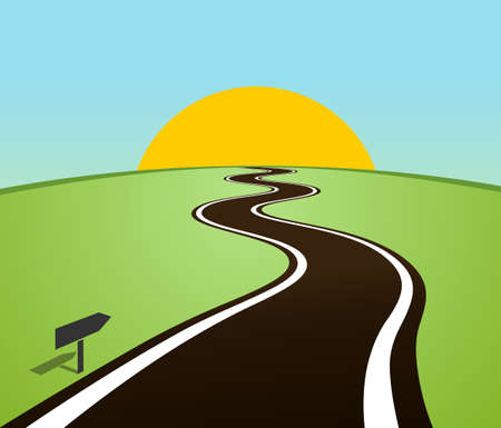 Winding road in field over horizon. Sun over the hill. Vector illustration