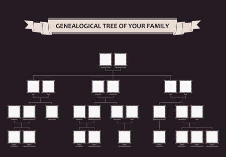 genealogical: �rbol geneal�gico de su familia. Vector caligr�fico enmarca ornamento
