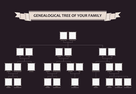 Genealogical tree of your family. Calligraphic vector frames ornament Illustration