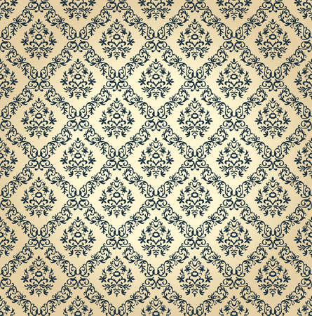 Seamless floral background. Vector vintage wallpaper black