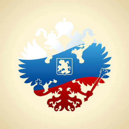 double headed: Russian coat of arms double-headed eagle. Symbol of imperial Russia flag isolated