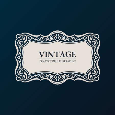Label vector framework. Vintage banner decor ornament Ilustrace