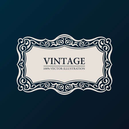Label vector framework. Vintage banner decor ornament Illustration
