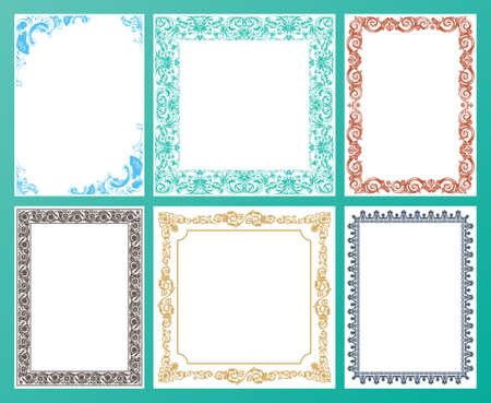 bordes decorativos: De color Conjunto de vectores. Marcos ornamentados y elementos del desfile del ejemplo del vintage Vectores