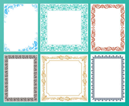 filigree border: Vector color set. Ornate frames and vintage scroll elements illustration
