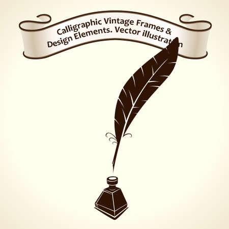 poet: Feather pen ink. Calligraphic ribbon roll letter vintage Illustration