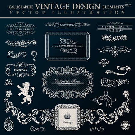 retro patterns: Calligraphic heraldic decor elements.